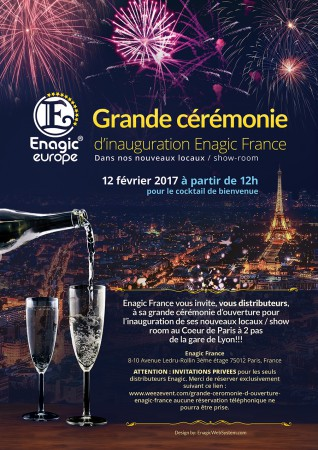 Flyer for Enagic Paris new Office Grand Opening small